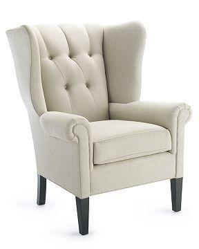 Seating - Williams-Sonoma Home | Hank Chair - chair, wingback, wing chair, white, cream, bedroom