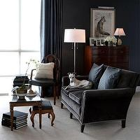 living rooms - gray, couch, nailhead trim, floor lamp, blue, silk, drapes, blue, walls, tables, gray sofa, velvet sofa, gray velvet sofa, charcoal gray sofa, charcoal gray velvet sofa, gray velvet sofa,