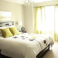 bedrooms - gray, Bed, side tables, duvet set, curtains, lamps, painting, crystal chandelier,  Pamela Pryce master bedroom in white, gray, silver,