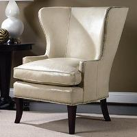 Seating - Hamlin Wing Chair - chair, wingback, wing chair, leather, white, cream, bedroom