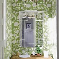 Meg Braff Interiors - bathrooms - green, chinoiserie, bathroom, white, greek key, mirror, white, green, wallpaper, faux bamboo mirror, bamboo mirror, pagoda mirror, white faux bamboo mirror, white bamboo mirror, white pagoda mirror, greek key, greek key mirror, white greek key mirror, White Faux Bamboo Mirror,