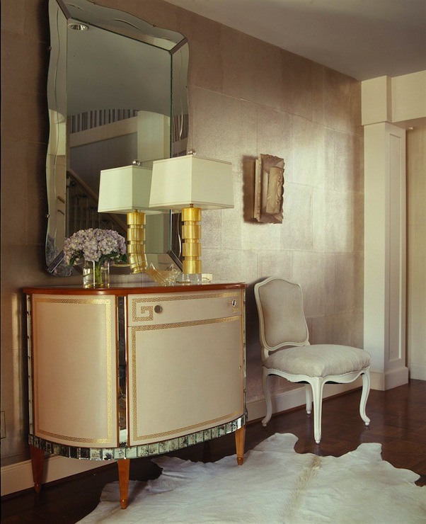 Jan Showers - entrances/foyers - console, greek key, mirrored, chest, frameless, scalloped, mirror, cowhide rug, French, chair,  Greek key mirrored