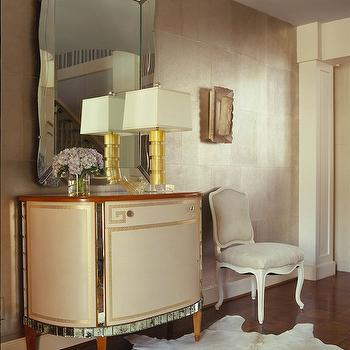 Jan Showers - entrances/foyers - greek key, greek key cabinet, half moon cabinet, foyer cabinet, cowhide rug, white cowhide rug,  Greek key mirrored