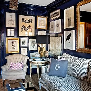 Anne Coyle Interiors - dens/libraries/offices - lacquer walls, lacquered walls, blue lacquer walls, blue lacquered walls, high gloss walls, striped sofa,