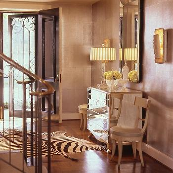 Jan Showers - entrances/foyers - mirrored furniture, zebra cowhide rug, mirrored chest, crystal lamp, beveled mirror, black door, mirrored chest,