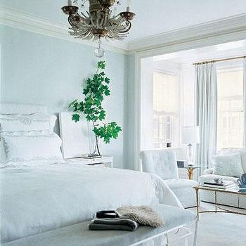 Lucite Bench, Transitional, bedroom, Elle Decor