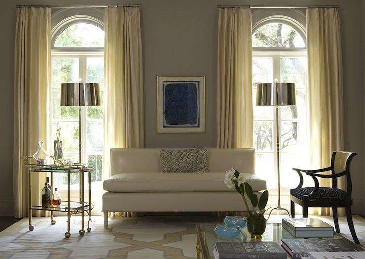 Ivory Drapes - Transitional - living room - Jan Showers