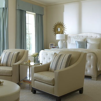 Jan Showers - bedrooms - sitting area, bedroom sitting area, valance, blue valance, valance and curtains, blue curtains, white tufted bed, white bed, upholstered bed, sunburst mirrors, leather accent chairs, swoop arm chairs,