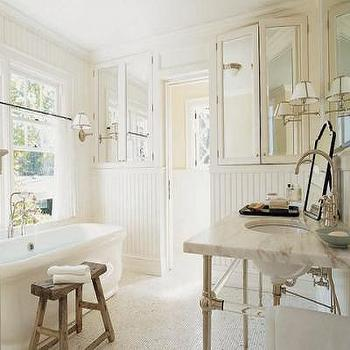Mirrored Bathroom Cabinets, Cottage, bathroom, Benjamin Moore White Dove, Bilhuber & Associates