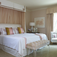 Jan Showers - bedrooms - pink, velvet, tufted, bench, lucite, legs, striped, silk, pillows, white, headboard, pink, drapes, white, lamp, pink, walls, paint, color, white, tufted, chair, lucite bench, pink lucite bench, tufted lucite bench, pink velvet lucite bench, pink tufted lucite bench, pink velvet tufted lucite bench, tufted velvet lucite bench, velvet tufted lucite bench, velvet lucite bench,