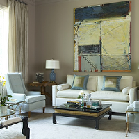 Jan Showers - living rooms - white, sofa, silk, blue, green, pillows, blue, ceramic, lamps, black, asian, cocktail table, coffee table, blue, tufted, chairs, taupe, silk, drapes, taupe, walls, paint color, brass, accent tables,