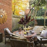 Huntley &amp; Company - decks/patios - starburst, sunburst, mirror, patio, courtyard,  Wood sunburst mirror
