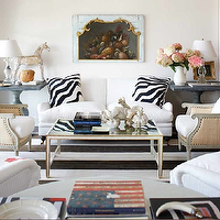 Michael Partenio - living rooms - zebra pillows, zinc end tables, zinc accent tables, zinc pedestal tables, white sofa, mirrored top coffee table, hanna chairs, gray end tables, gray pedestal tables, Oly Studio Hanna Chair,