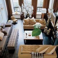 living rooms - mustard yellow sofa, mustard yellow velvet sofa, yellow velvet sofa, yellow tufted sofas, tufted bench, 2 story foyer,  Larry
