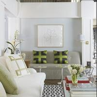 Jan Showers - living rooms - geometric, mitered, green, white, jan showers, green, black, silk, pillows, brass, coffee table, ivory, sofa,  White