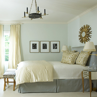 Jan Showers - bedrooms - gray, headboard, bed skirt, yellow, silk, duvet, pillows, gold, sunburst, mirror, brass, sconces, mirrored, tables, nightstands, yellow, drapes, blue, walls, paint color,