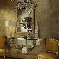 Jan Showers - entrances/foyers - mirrored console, chandelier, gold, silk, French, chairs, venetian, mirrored table, mirrored console table, mirrored foyer table,