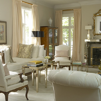 Jan Showers - living rooms - white, tufted, chairs, settee, mirrored, accent, end, tables, ivory, silk, drapes, polished chrome, fireplace, brass, mirror,