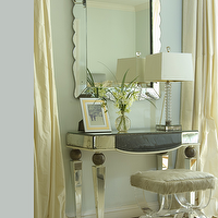 Jan Showers - bedrooms - mirrored vanity,  Scalloped mirror, mirrored vanity, lucite acrylic bench, crystal lamp, yellow silk drapes, scalloped