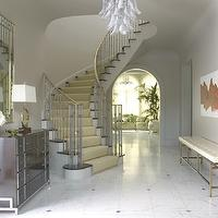 Jan Showers - entrances/foyers - jan showers, white, tufted, brass, bench, chest, modern art, mirror,  White tufted brass entry bench, chandelier,