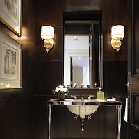 bathrooms - ted yarwood, sconces, black, tile, modern, console vanity, bathroom,  bathroom by Ted Yarwood
