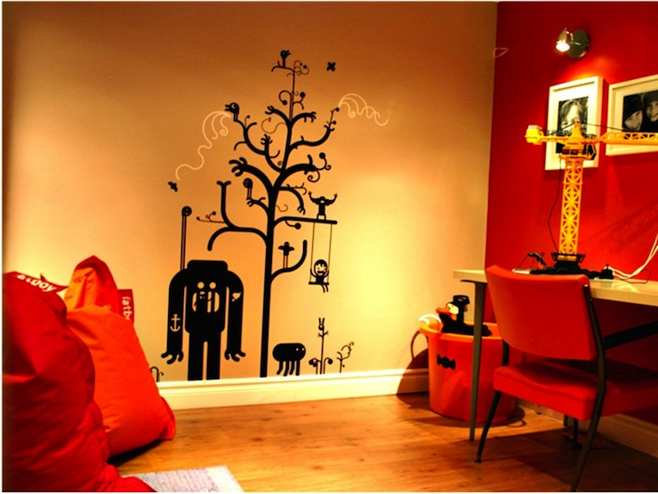 miscellaneous - Behr - Firecracker - Threadless wall decal, vintage orange chair, ikea desk, Fatboy bean bag chairs, Home depot spotlights, Behr Wheatbread taupe paint, Ikea white frames, plastic storage bins, Orange Firecracker Behr paint, stagehouse designs,