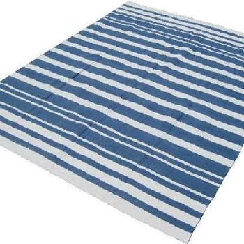 Rugs - Blue Striped Rug 8'x10' Cotton - blue, stripes, rug,