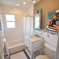 Brooklyn Limestone - bathrooms - Martha Stewart - Zinc - gray and blue bathroom, kenton nelson, oversized subway tile, backsplash, restoration hardware, white, vanity, sputnik chandelier, white, shower, curtain,