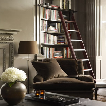 John Coolidge Photography - dens/libraries/offices - ladder, bookshelf ladder, den ladder, library ladder, brown velvet chair, brown chair, dark brown chair, chocolate brown chair, dark brown velvet chair, taupe walls, taupe fireplace, taupe fireplace mantle,