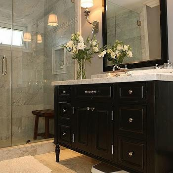 Jeff Lewis Design - bathrooms - black vanity, black bathroom vanity, black washstand, black cabinets, black bathroom cabinets, black vanity with white marble top, black bathroom vanity with white marble countertop, black framed mirror, glass walk in shower, shower bench, teak shower bench,