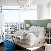 bedrooms - velvet tufted headboard, velvet headboard, tufted headboard, white velvet tufted headboard, lucite bench, striped lucite bench, upholstered lucite bench, oversized headboard, large headboard, wide headboard, angled bed, , Bungalow 5 Marco Table, Giogali Hugger Chandelier,
