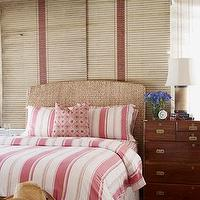 House Beautiful - bedrooms - seagrass, headboard, striped, red, white, bedding, pillows, shams, striped, red, rug, vintage, trunk,  Carolyn Espley-Miller
