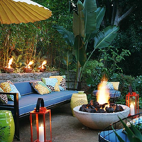 decks/patios - firepit, firepit ideas, outdoor firepit, outdoor firepit ideas, blue outdoor sofa, outdoor sofa, orange lanterns,  David Tsay