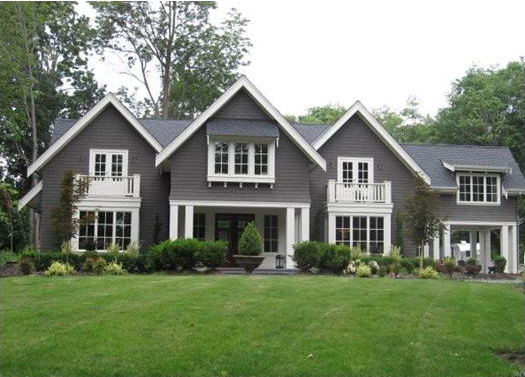 home exteriors - Pratt and Lambert - Wendigo - House exterior, white trim, gray siding, gray home exterior,  Found on Colour Me Happy blog. Love