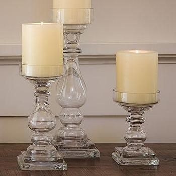 Decor/Accessories - Clear Glass Square Base Pillar Holders | Pottery Barn - candle holders