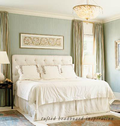 My Home Ideas - bedrooms - tufted headboard, white tufted headboard, striped curtains, striped drapes, vertical striped curtains, vertically striped curtains, vertical striped drapes, vertically striped drapes,