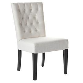 Seating - Z Gallerie - Lola Side Chair - White Linen - lola, tufted, chair