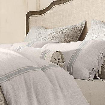 Bedding - Belgian Linen Provence Stripe Bedding Restoration Hardware - Bedding, Linen, Beige, Grey, Duvet