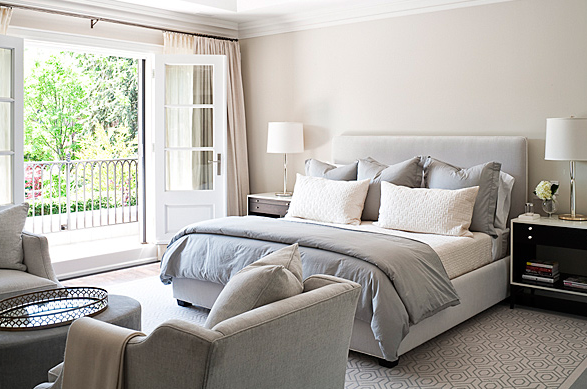 Gray duvet transitional bedroom jennifer worts design for Bedroom ideas light grey