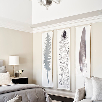 Jennifer Worts Design - bedrooms - gray bedding, master bedroom, master bedroom, master bedroom ideas, gray duvet, feather art panels, feather art, feather wall art, bedroom art, bedroom art panels, long art panels, bedroom sitting area, brass tray, antique brass tray,