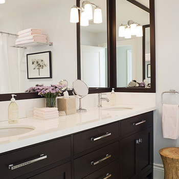 Jennifer Worts Design - bathrooms - espresso cabinets, espresso bathroom cabinets, espresso double vanity, espresso double washstand, espresso vanity with white countertops, espresso cabinets with white countertop, espresso mirror, espresso framed mirror,