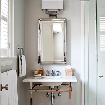 Polished Chrome Washstand, Transitional, bathroom, Jennifer Worts Design
