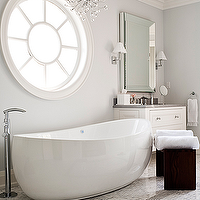 Jennifer Worts Design - bathrooms - platinum, gray, walls, paint, color, modern, crystal, chandelier, beveled, mirror, white, modern, bathroom, vanity, chrome, sconces, espresso, stools, marble, tiles, floors, bathroom,