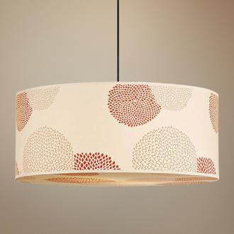 Lighting - Lights Up! Meridian Red Mumm Jumbo Silk Pendant Light | LampsPlus.com - floral, pendant