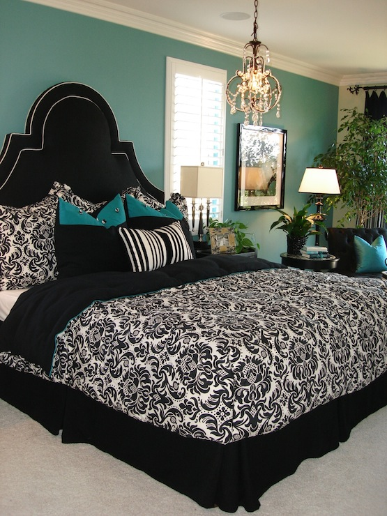 Modern Chic Home - bedrooms - teal, walls, paint, color, black, kelly wearstler, damask, black,  A master bedroom that I designed for a model