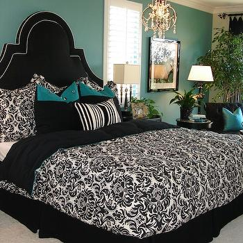 Modern Chic Home - bedrooms - damask bedding, black and white bedding, black and white duvet, black and white shams, damask shams, black and white damask duvet, black and white damask shams, teal pillows, teal walls, teal wall paint, teal paint, black bed skirt, black bedskirt, black headboard,