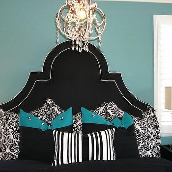 Modern Chic Home - bedrooms - damask bedding, black and white bedding, black and white duvet, black and white shams, damask shams, black and white damask duvet, black and white damask shams, teal pillows, teal walls, teal wall paint, teal paint, black headboard, black tufted headboard, chandelier over bed,