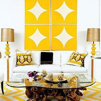 Pieces Inc - living rooms - yellow, chevron, zigzag, rug, bold, bright, living room, modern, chevron rug, yellow chevron rug, white and yellow chevron rug,
