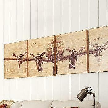 Art/Wall Decor - Planked Airplane Panels, Set of 4 | Pottery Barn - planked, airplane, art, panels
