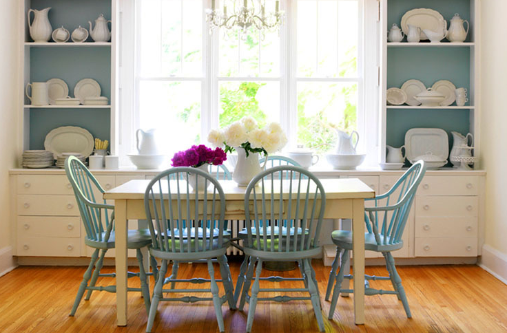 Donna Griffith Photography - dining rooms - turquoise dining chairs, turquoise blue dining chairs, windsor chairs, windsor dining chairs, turquoise windsor chairs, turquoise blue windsor chairs, ivory dining table, rectangular dining table, built ins, dining room built ins, dining room built in cabinets, dining room bench, built in bench,